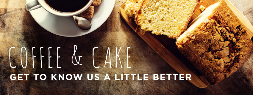 "A photo of a cup of coffee and some cake with the subtitle ""Get to know us a little better""."
